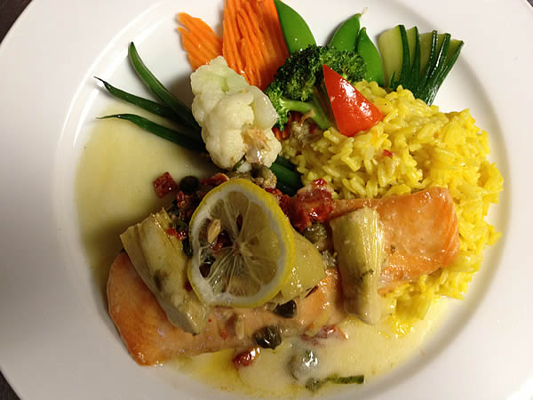 Grilled Salmon With The Saffron Rice Served At Simply